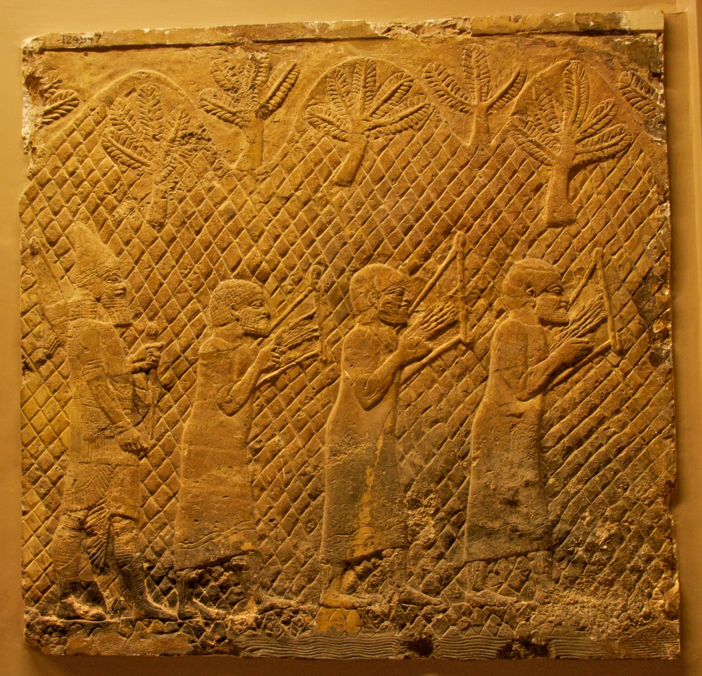 Prisoners playing lyres. Assyrian, about 700-692 BC.